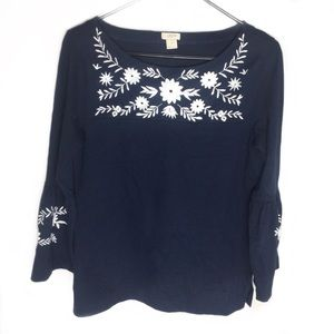 J.Crew Factory Embroidered Bell Sleeve Top